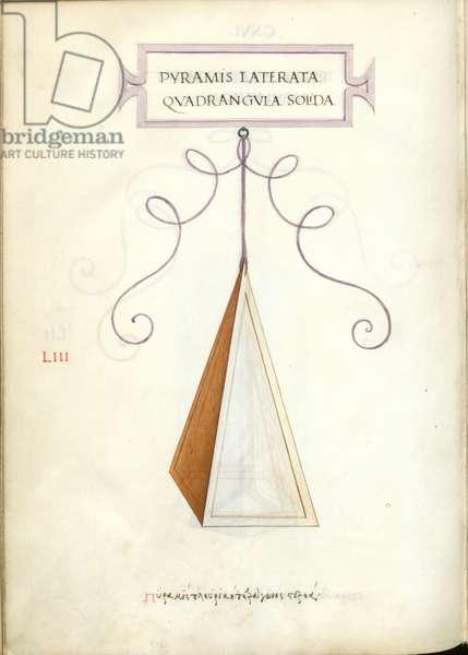 De Divina Proportione, Figure LIII, sheet 116 verso: Solid polygonal quadrangular pyramid, Pyramis laterata quadrangvla solida