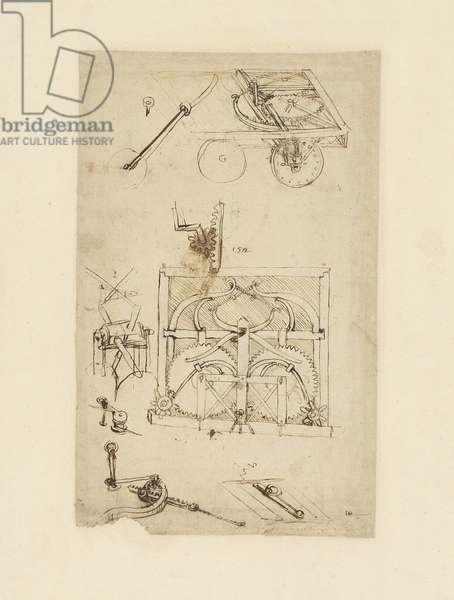 Self-moving cart (also known as Leonardo's automobile), from Atlantic Codex (Codex Atlanticus) by Leonardo da Vinci, folio 812 recto
