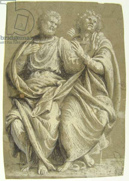 Two Seated Apostles, c.1510 (brush, black & gray washes, and white lead on greenish-grey paper)