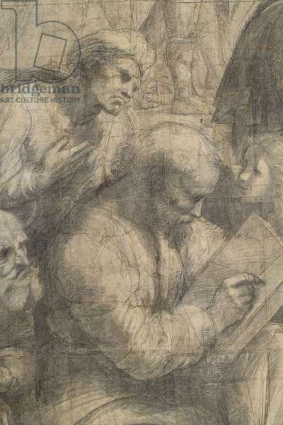 Averro?, Anicius Manlius Severinus Boethius or Anaximander or Aristoxenu and Pitagora, or Pythagoras surrounded by the three ages in which young people must teach mathematics, detail of the preparatory cartoon for The School of Athens, 1510 (charcoal and white lead)