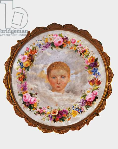 Putto's Head Surrounded by Flowers, c.1838 (enamel on porcelain)