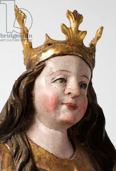 Detail from Madonna and Child, 1400-50 (carved, painted & gilt wood)
