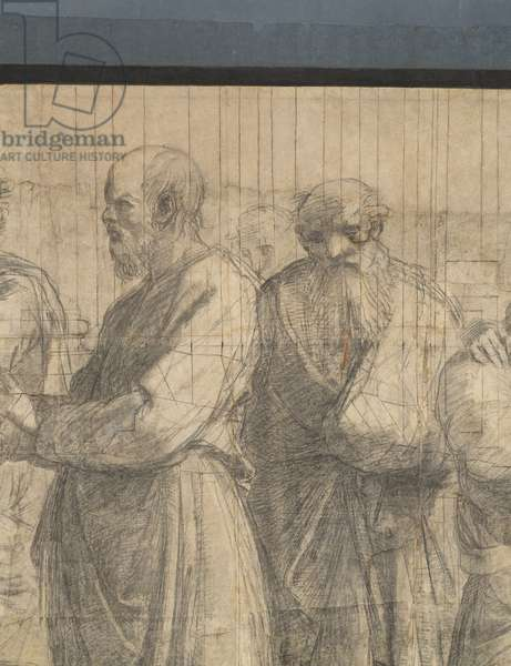 Socrates and one of his followers (perhaps Apollodorus), detail of the preparatory cartoon for The School of Athens, 1510 (charcoal and white lead)