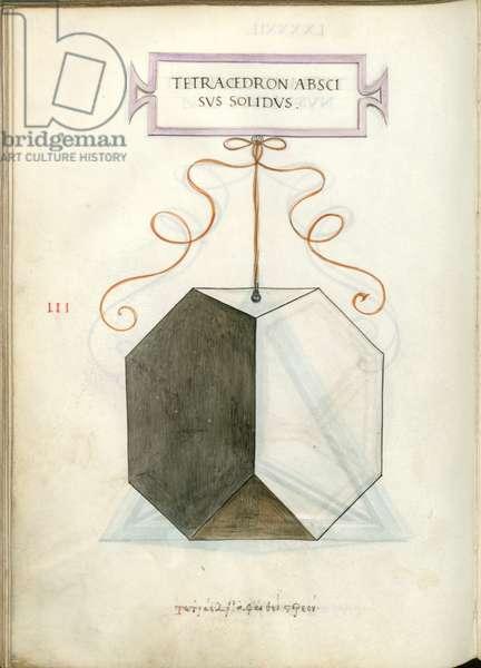 De Divina Proportione, Figure III, sheet 92 verso: Cut solid tetrahedron, pyramid, Tetracedron abscisvs solidvs