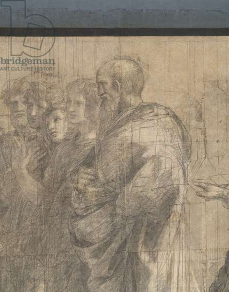 Group of Aristotle' students, detail of the preparatory cartoon for The School of Athens, 1510 (charcoal and white lead)