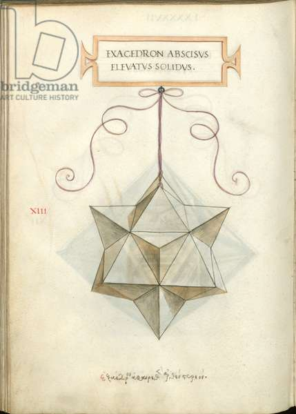 De Divina Proportione, Figure XIII, sheet 97 verso: Elevated and truncated solid hexahedron, cube, Exacedron abscisvs elevatvs solidvs