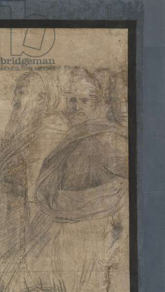 The cynics (represented with stick and mantle), detail of the preparatory cartoon for The School of Athens, 1510 (charcoal and white lead)