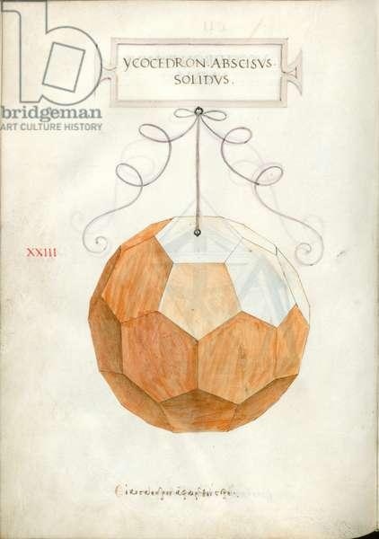 De Divina Proportione, Figure XXIII, sheet 102 verso: Cut solid icosahedron, Ycocedron abscisvs solidvs