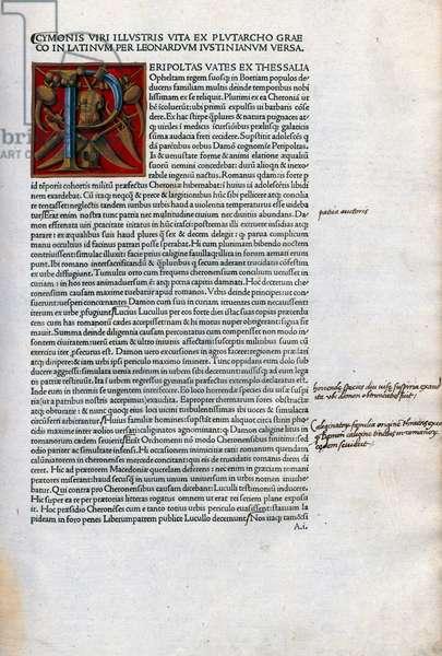 Page with initial from the Virorum illustrium vitae ex Plutarcho graeco in latinum versae solertique cura emendatae foeliciter expliciun translated