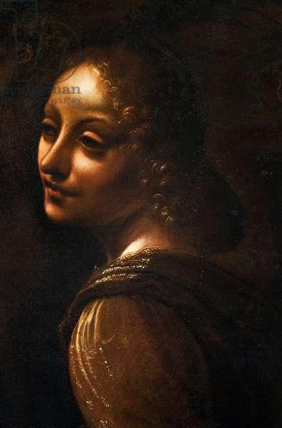 The angel, detail from The Virgin of the Rocks, after Leonardo da Vinci (1452-1519), c.1611-18 (oil on panel)