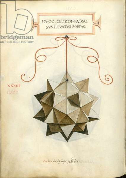 De Divina Proportione, Figure XXXIII, sheet 107 verso: Cut and elevated dodecahedron, Dvodecedron abscisvs elevatvs solidvs