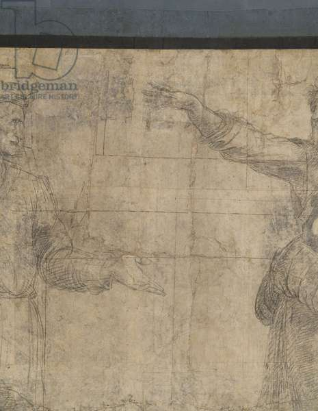 Aeschines' hand, detail of the preparatory cartoon for The School of Athens, 1510 (charcoal and white lead)