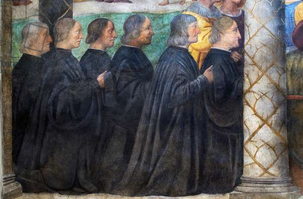 Brothers of Santa Corona praying, detail from Christ Crowned with Thorns, 1522 (fresco)