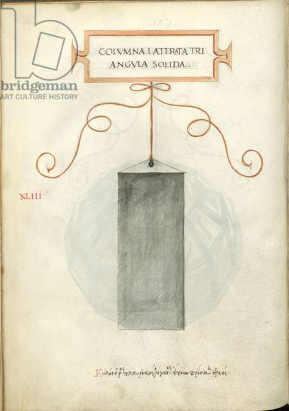 De Divina Proportione, Figure XLIII, sheet 111 verso: Solid triangular polygonal column, Colvmna laterata triangvla solida