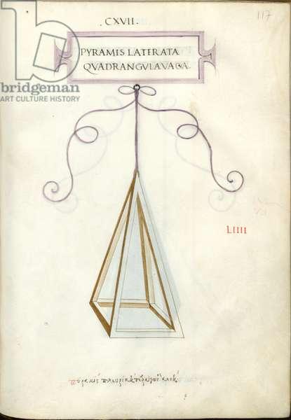 De Divina Proportione, Figure LIIII, sheet 117 recto: Empty polygonal quadrangular pyramid, Pyramis laterata quadrangvla vacva