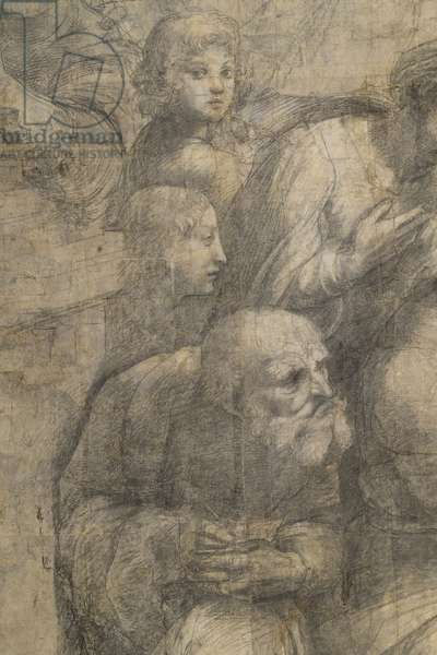 Federico II Gonzaga Duke of Mantua and Anicius Manlius Severinus Boethius or Anaximander or Aristoxenu, detail of the preparatory cartoon for The School of Athens, 1510 (charcoal and white lead)