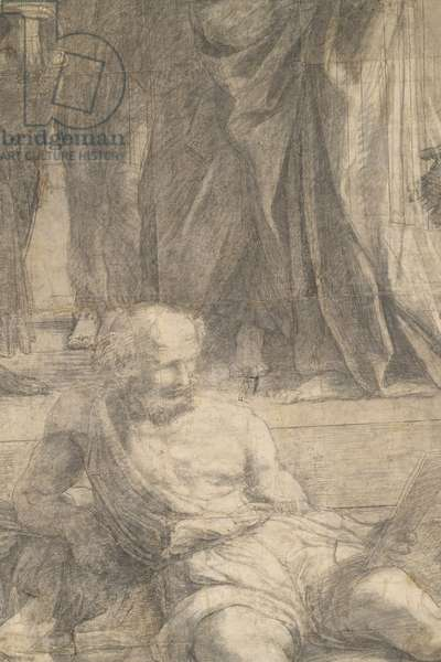 Diogenes of Sinope, detail of the preparatory cartoon for The School of Athens, 1510 (charcoal and white lead)