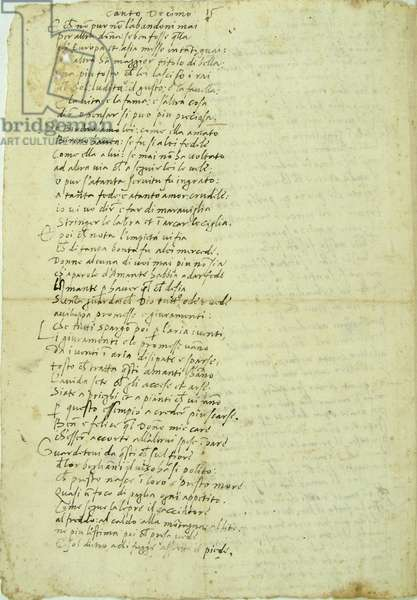 Autograph passage of the three last stanzas and the seven first stanzas from the Canto 10 of the Orlando Furioso by Ludovico Ariosto