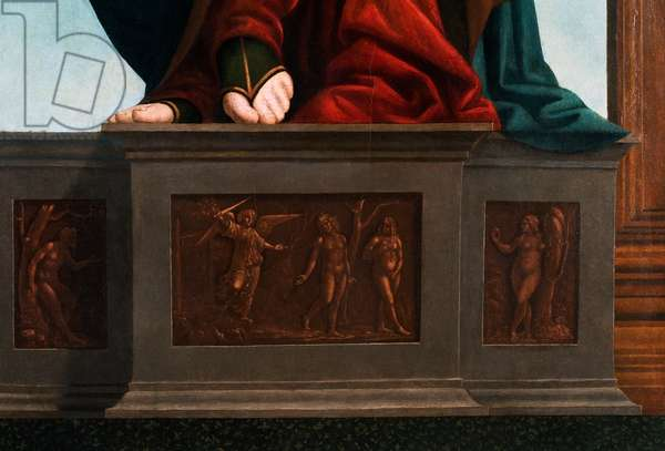 Feet of Mary, detail from The Madonna and Child with Saint John the Evangelist and Saint John the Baptist, 1510-20 (oil on panel)