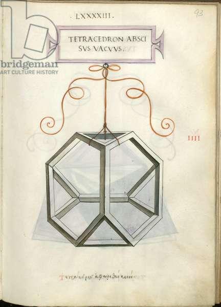 De Divina Proportione, Figure IIII, sheet 93 recto: Empty cut tetrahedron, pyramid, Tetracedron abscisvs vacvvs
