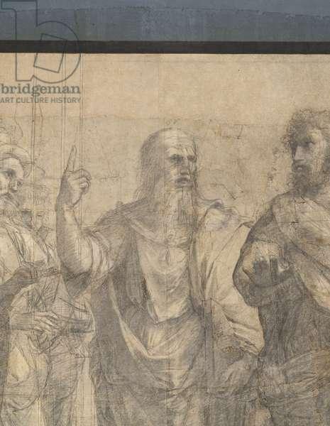 A Plato student, Plato (Leonardo da Vinci or Fra' Giovanni Giocondo) and Aristotele (Bastiano da Sangallo), detail of the preparatory cartoon for The School of Athens, 1510 (charcoal and white lead)