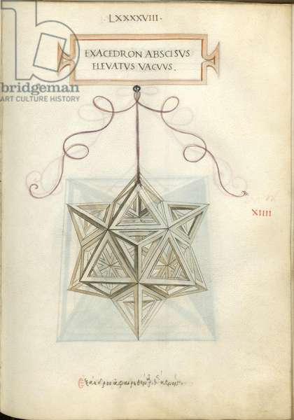 De Divina Proportione, Figure XIIII, sheet 98 recto: Elevated and cut empty hexahedron, cube, Exacedron abscisvs elevatvs vacvvs
