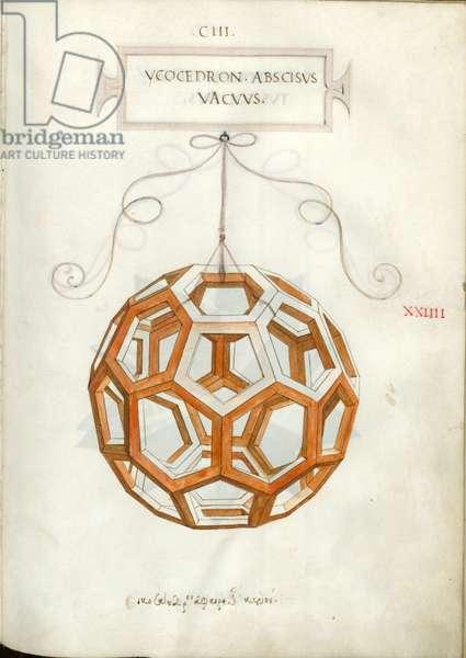 De Divina Proportione, Figure XXIIII, sheet 103 recto: Cut empty icosahedron, Ycocedron abscisvs vacvvs