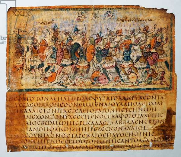 The fight goes on: the major heroes fighting at the forefront; beside them, Agamemnon praising Teucer and Hera and Athena about to help the Greeks; beside them, Iris, who will be sent by Zeus for holding them