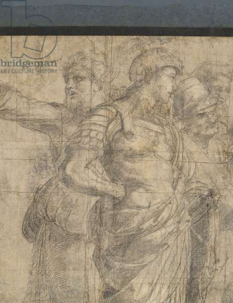 Aeschines and Alcibiate or Alexander the Great, Aristodemus and Crito, detail of the preparatory cartoon for The School of Athens, 1510 (charcoal and white lead)