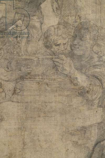 Orfeo or Epicuro or Empedocle, detail of preparatory cartoon for The School of Athens, 1510 (charcoal and white lead)