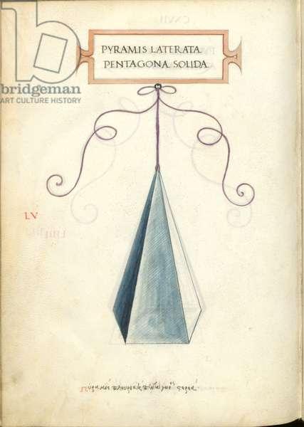 De Divina Proportione, Figure LV, sheet 117 verso: Solid polygonal pentagonal pyramid, Pyramis laterata pentagona solida