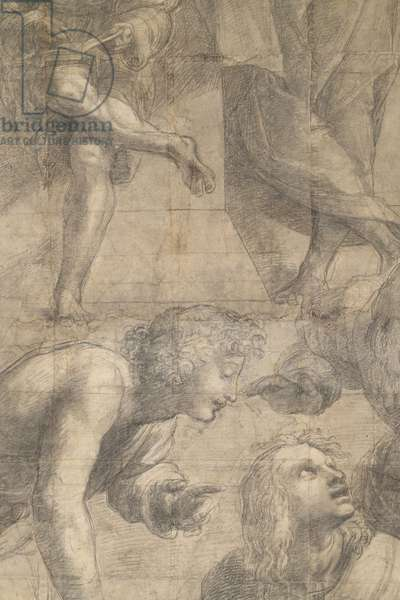 People interested in geometry, detail of the preparatory cartoon for The School of Athens, 1510 (charcoal and white lead)