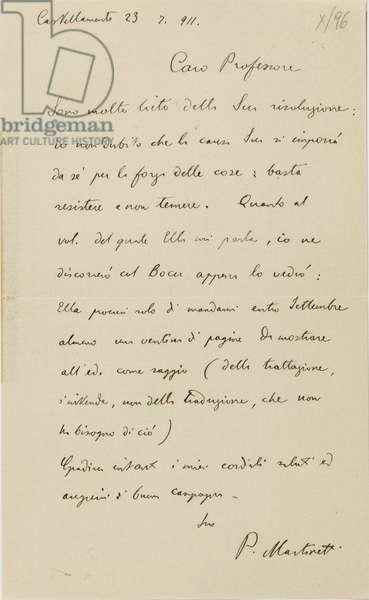 Letter from the philosopher Piero Martinetti to the historian Uberto Pestalozza (pen & ink)
