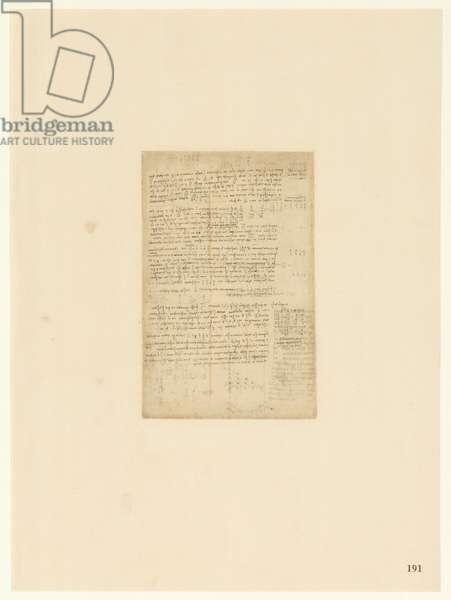Codex Atlanticus, sheet 191 recto