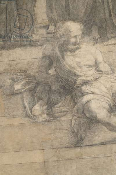 Diogene, detail of the preparatory cartoon for The School of Athens, 1510 (charcoal and white lead)