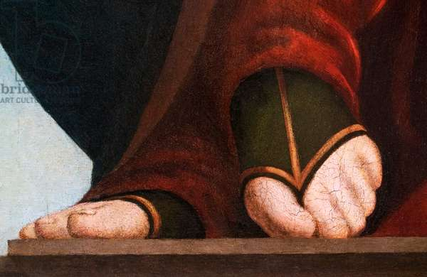 Feet of Madonna, detail from The Madonna and Child with Saint John the Evangelist and Saint John the Baptist, 1510-20 (oil on panel)