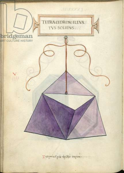 De Divina Proportione, Figure V, sheet 93 verso: Elevated solid tetrahedron, pyramid, Tetracedron elevatvs solidvs