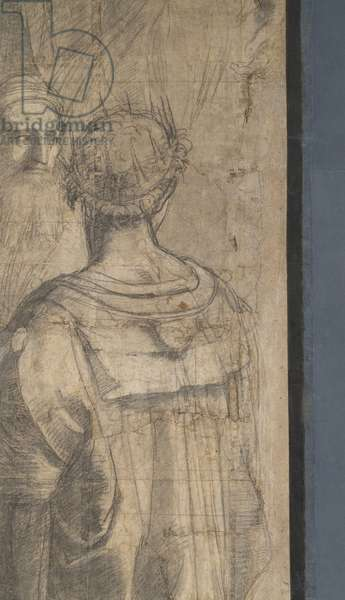 Tolomeo and Zoroastrus, detail of the preparatory cartoon for The School of Athens, 1510 (charcoal and white lead)
