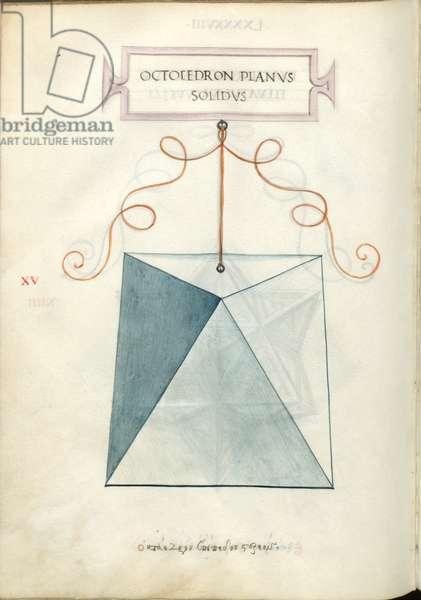 De Divina Proportione, Figure XV, sheet 98 verso: Perpendicular solid octahedron, Octocedron planvs solidvs
