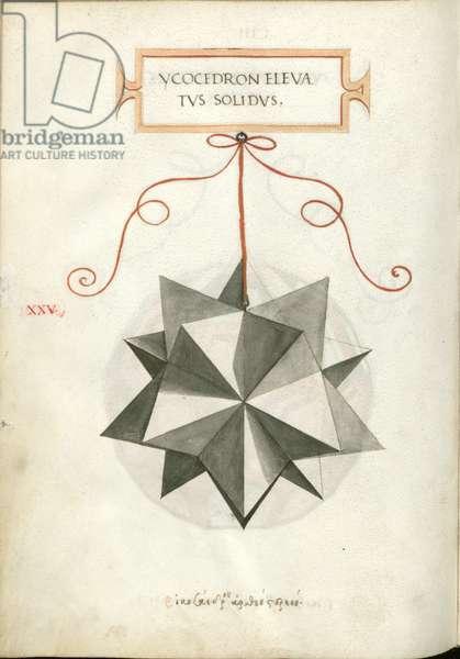 De Divina Proportione, Figure XXV, sheet 103 verso: Elevated solid icosahedron, Ycocedron elevatvs solidvs