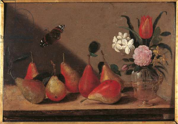 Pears with Vase of Flowers, 1600-49 (oil on panel)