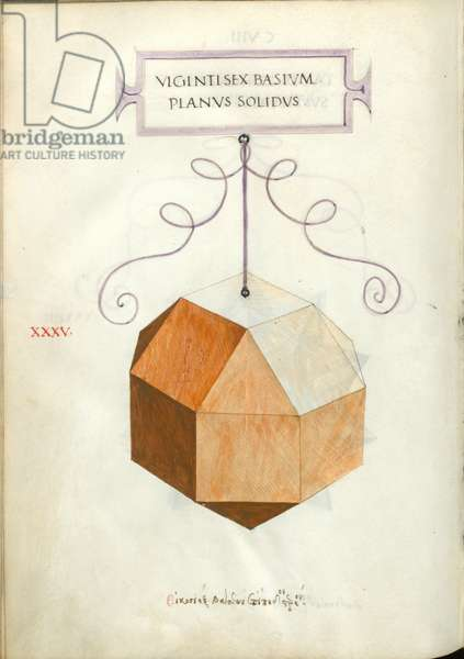 De Divina Proportione, Figure XXXV, sheet 108 verso: Perpendicular solid body with twenty-six bases, rhombicuboctahedron, Vigintisex basivm planvs solidvs