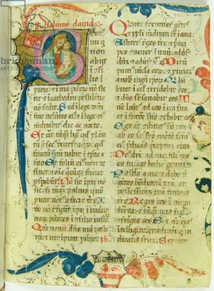 Illuminated page with Virgin and Child