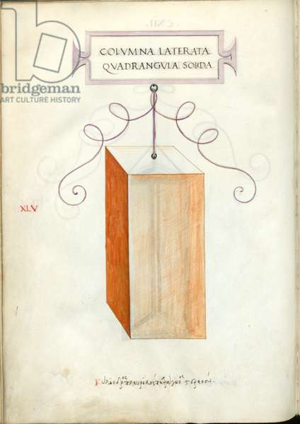 De Divina Proportione, Figure XLV, sheet 112 verso: Solid quadrangular polygonal column, parallelepiped, Colvmna laterata quadrangvla solida