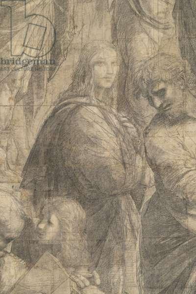 Representation of the Greek Kalokagathia (Francesco Maria della Rovere, Duke of Urbino) and Parmenis or Aristoxenus, detail of the preparatory cartoon for The School of Athens, 1510 (charcoal and white lead)