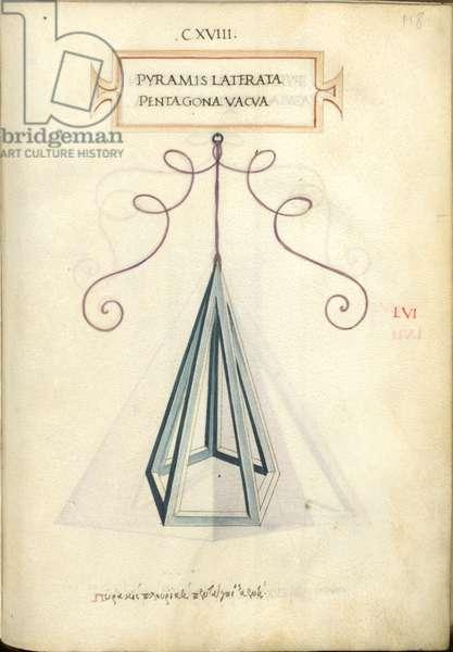 De Divina Proportione, Figure LVI, sheet 118 recto: Empty polygonal pentagonal pyramid, Pyramis laterata pentagona vacva