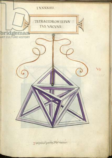 De Divina Proportione, Figure VI, sheet 94 recto: Elevated Empty tetrahedron, pyramid, Tetracedron elevatvs vacvvs