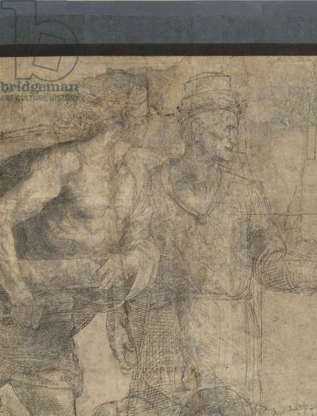 The sophists (possibly Protagoras, with the three books, and Gorgias), detail of the preparatory cartoon for The School of Athens, 1510 (charcoal and white lead)