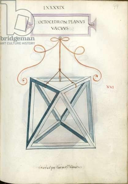 De Divina Proportione, Figure XVI, sheet 99 recto: Perpendicular empty octahedron, Octocedron planvs vacvvs