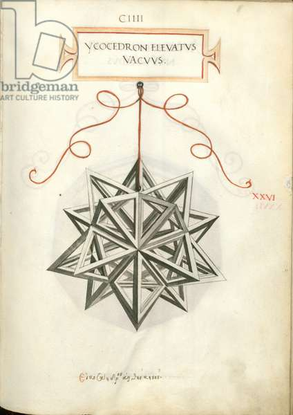 De Divina Proportione, Figure XXVI, sheet 104 recto: Elevated empty icosahedron, Ycocedron elevatvs vacvvs